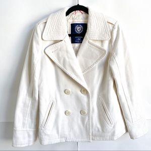 American Eagle White Pea Coat Jacket